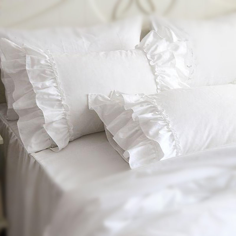 White Ruffled Pillow Shams PromotionShop for Promotional