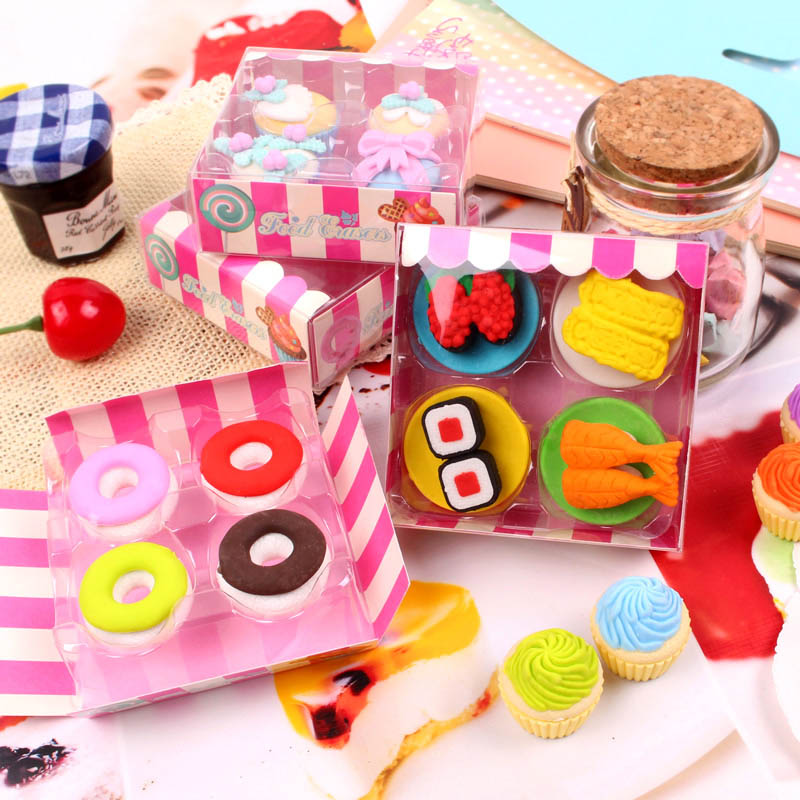 Image 4 - Free ship!1lot=12set!Sweet delicacy cake food rubber eraser / exquisite PVC small box  packing erasers set/ children gift-in Eraser from Office & School Supplies