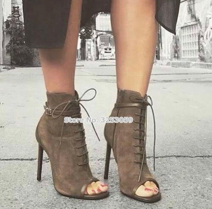 À Sexy Lacets Automne Bottes Chaussures En Moto Printemps Almudena Chaussons Robe Stiletto Toe Banquet Picture As Daim De Café Bottines Talon Peep CBeorxd