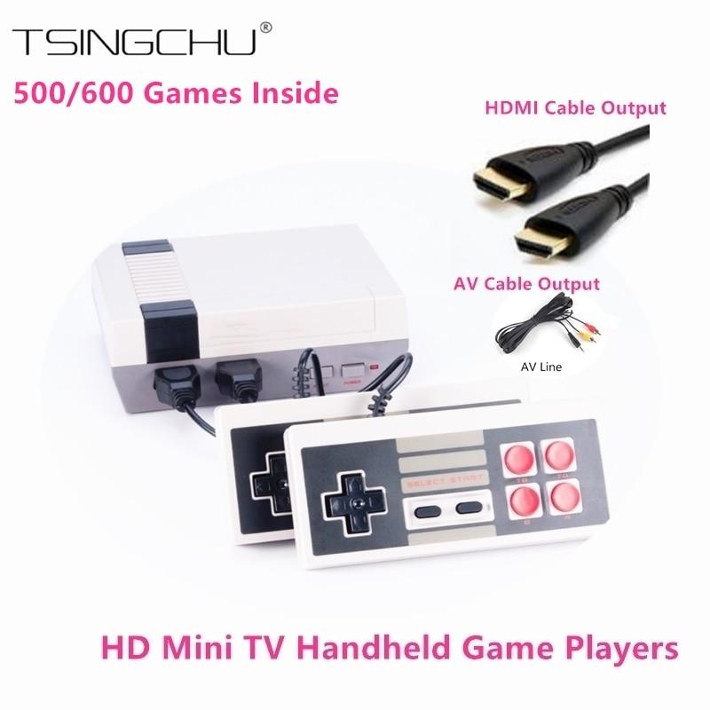 Ретро Семья HD видео классический Ручные игры Встроенный 500/600 игр двойной геймпад управления HDMI Выход мини ТВ игровой консоли