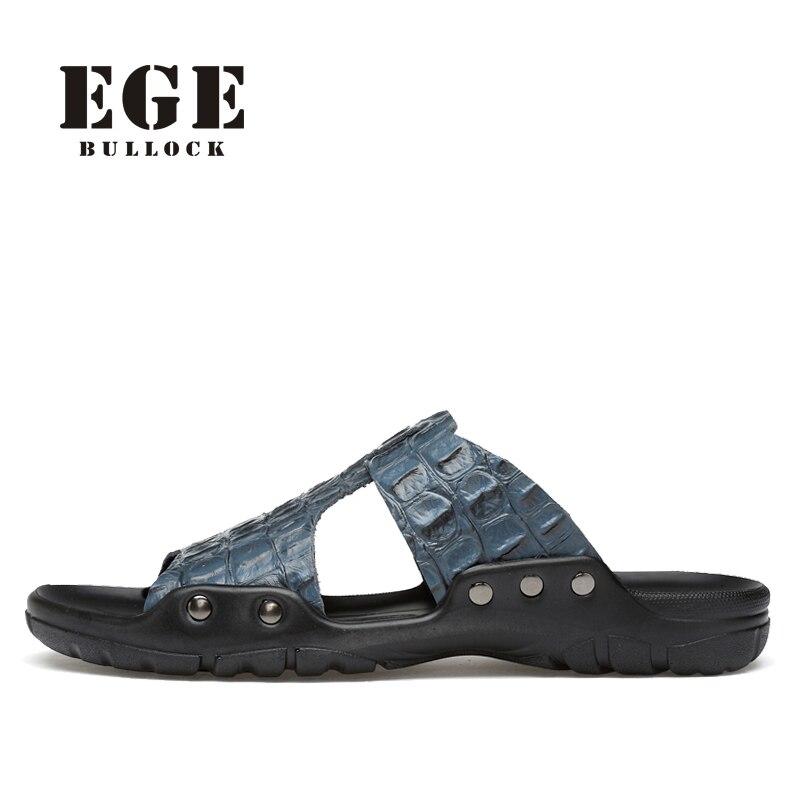 Leather Sandals Handmade Summer Casual Beach Shoes High Quality Fashion Crocodile Slipper Shoe EGE Brand Classic Flat for Men
