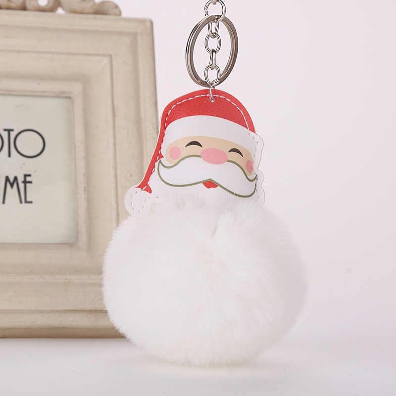 Pompom Faux Pele De Coelho Pom Pom Chaveiro Trinket Chaveiro Natal Papai Noel de Pelúcia Saco Chave Do Carro Anel de Presente de Natal chaveiro