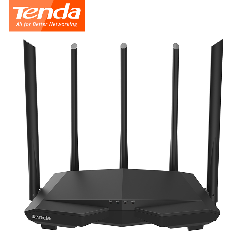 Tenda AC7 wireless wifi Routers 11AC 2.4Ghz/5.0Ghz Wi-fi Repeater 1*WAN+3*LAN 5*6dbi high gain Antennas Smart APP Manage comfast full gigabit core gateway ac gateway controller mt7621 wifi project manager with 4 1000mbps wan lan port 880mhz cf ac200