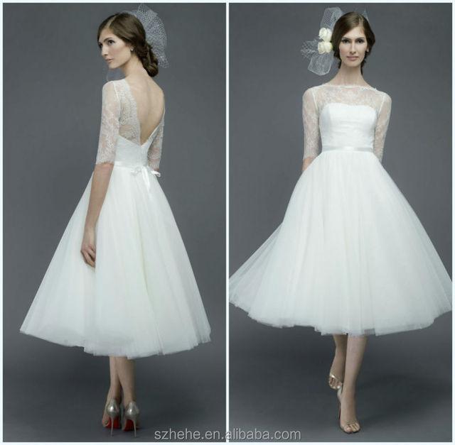 Bridals CW3198 Elegant vintage designer country western tea length wedding  dresses with sleeves ec0ae42bd660