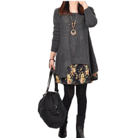 Autumn Spring Plus Size Knitted T Shirt Dress Women Slim Casual Print Patchwork Pullover Sweater Dress