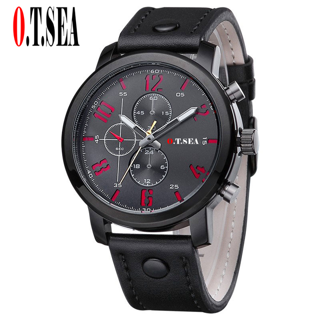 Hot Sales O.T.SEA Brand Soft Leather Watches Men Military Sports Quartz Wristwatches Relogio Masculino 8192 1