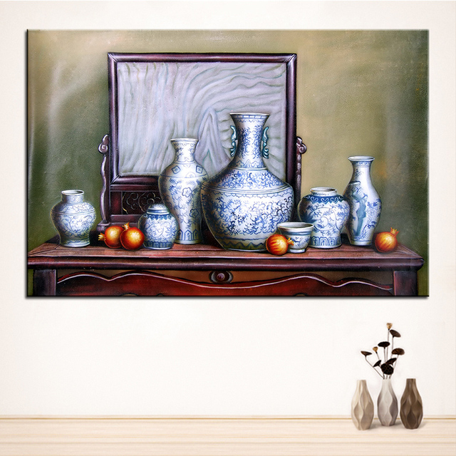 White porcelain original still life oil painting canvas prints wall art pictures for living room decorations