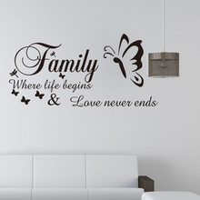 Family Where Life Begins Love Never Ends  Butterfly Wall Art Decor Home Decoration , High Quality Vinyl Sticker Decal