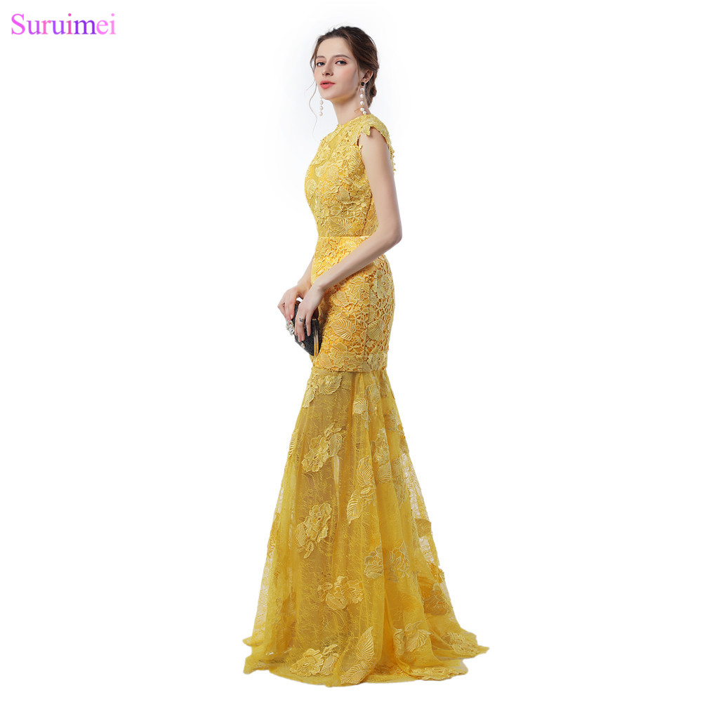Gold Lace Prom Dresses with Cap Sleeves Leaf Shape Applique Open ...