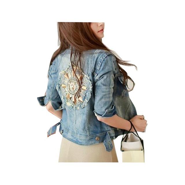 Caliente venta 2016 nuevas mujeres más el tamaño del remache del estilo cuernos Ripped azul mujeres populares chaqueta de Jean Denim Jean Jeans A147