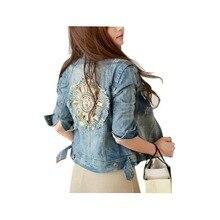 Hot Sale 2016  New Fashion Women Plus Size Style  Rivet Horns Ripped Blue Popular Women Jean Jacket Denim Jean Jeans A147