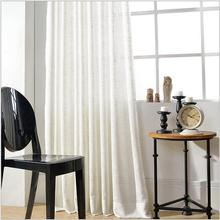 Venta caliente simple moderna Translucidus blanco escarpado de ventana cortina de voile de algodón de lino para la sala de estar dormitorio 1 unids precio