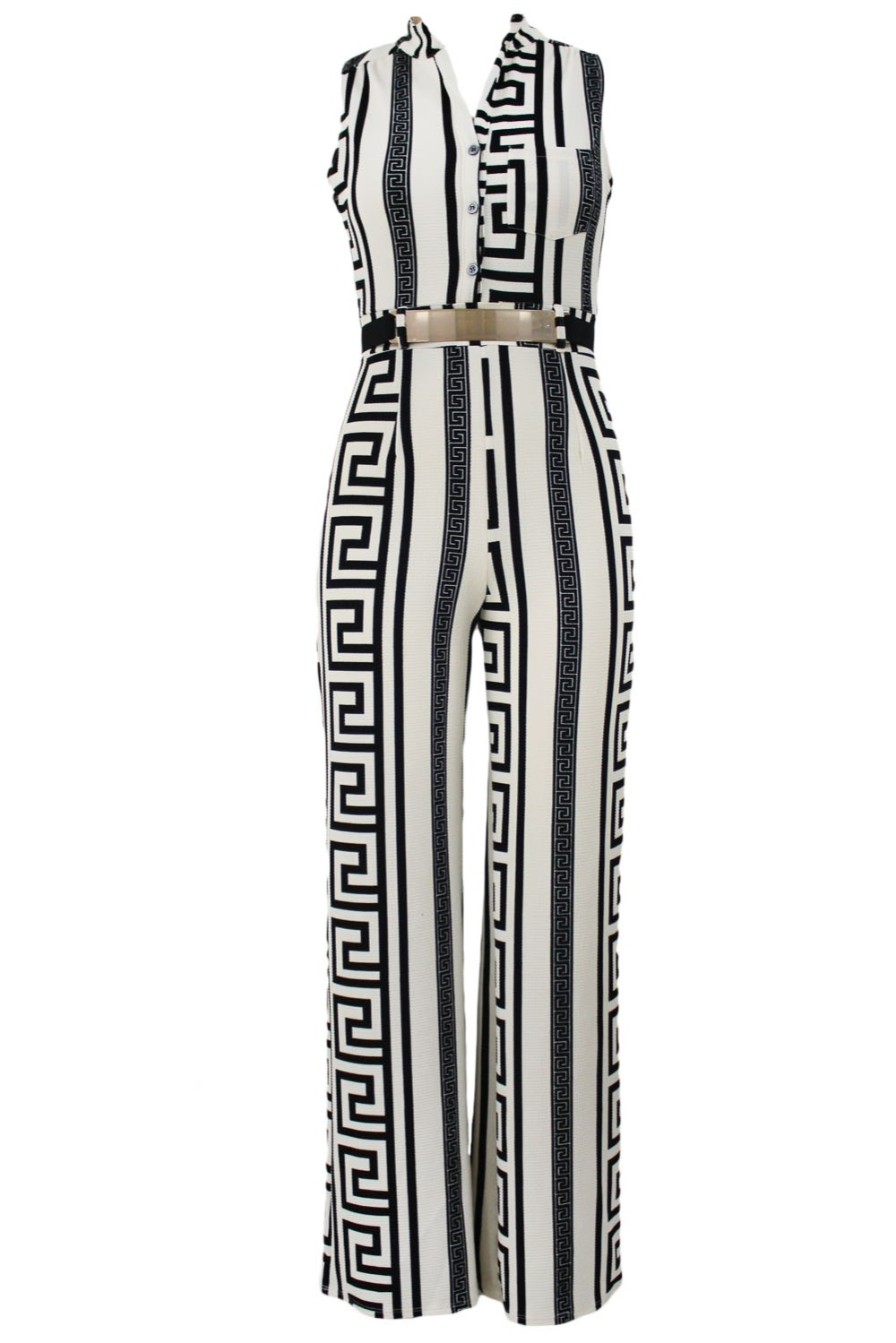 a6a15e846d macacao feminino 2016 summer White black Print Gold Belted Jumpsuit ...