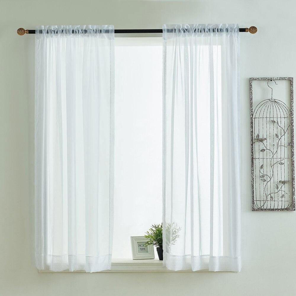 Aktiv Küche Vorhänge Schabracken Stange Tasche Dekorative Elegante Weiß Cafe Küche Tüll Kurz Sheer Voile Fenster Vorhang (ein Paar)