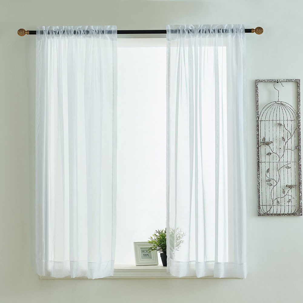 Kitchen Curtains Valances Rod Pocket Decorative Elegant White Cafe Kitchen Tulle Short Sheer Voile Window Curtain (One Pair)