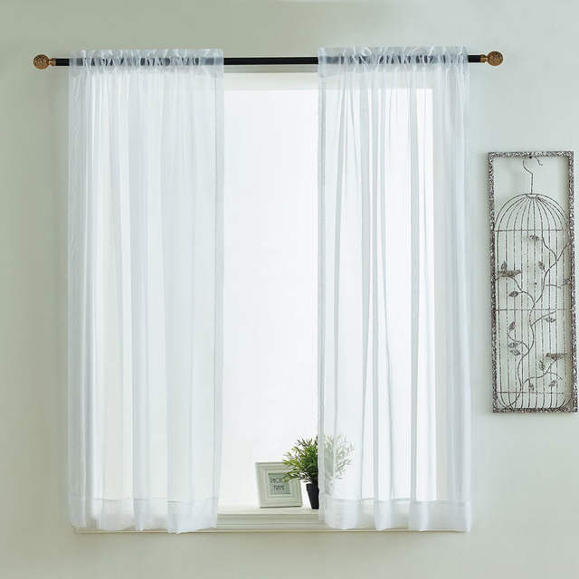 US $7.06 25% OFF|Kitchen Curtains Valances Rod Pocket Decorative Elegant  White Cafe Kitchen Tulle Short Sheer Voile Window Curtain (One Pair)-in ...