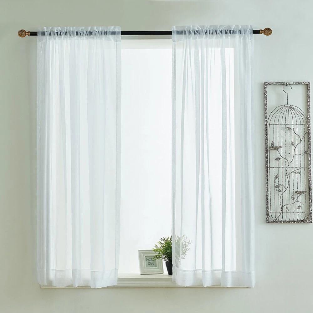 kitchen curtains valances rod pocket decorative elegant white cafe kitchen tulle short sheer voile window curtain one pair