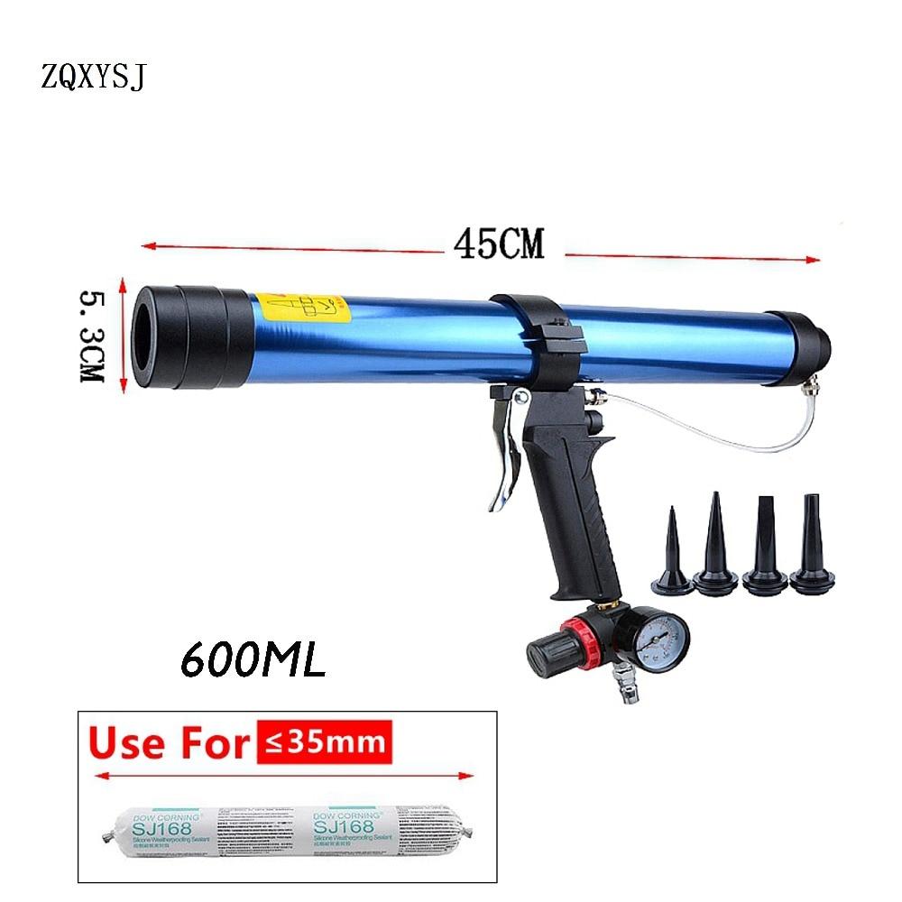 600ML Sausage type Pneumatic Sealant Gun 600ml Air Gun Valve Silicone Sausages Caulk Nozzle Glass Rubber Grout Construction Tool