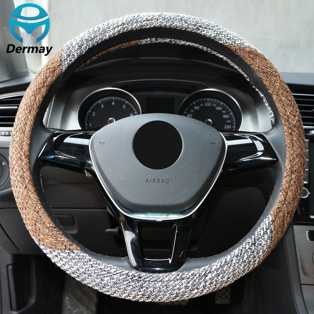 DERMAY CAR STEERING WHEEL COVER Flax Fabric THICKER Good Touch Anti-slip M size Fit 14-15 WHEEL-STEERING Four Seasons General