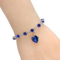 Women Fashion Shiny Rhinestone Love Heart Round Beads Charm Chain Bracelet Jewelry
