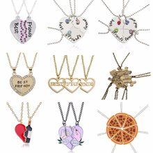 2017 Fashion Bohemian Best Friends BFF Pendant Necklaces 3 PCS/Set Charms Heart Necklace Rhinestone Choker Statement Necklace(China)