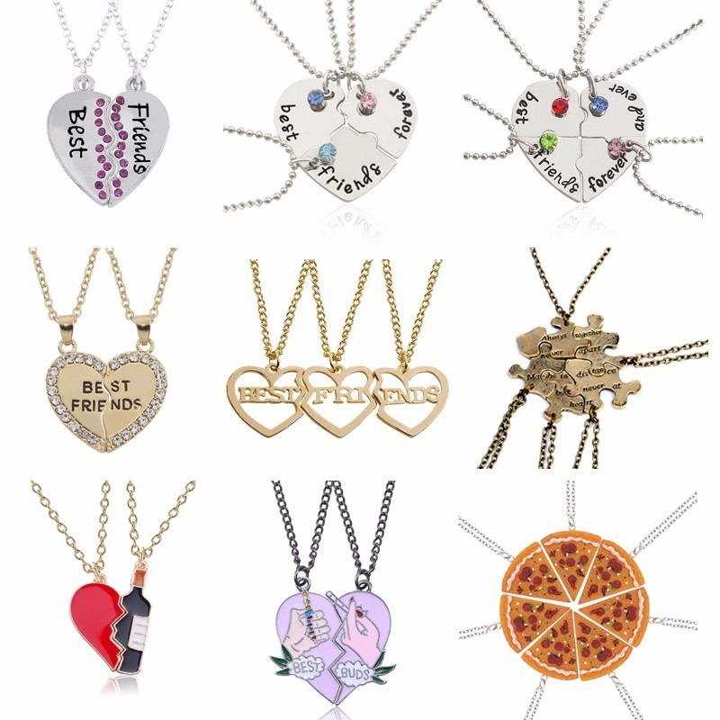 Fashion Bohemian Best Friends BFF Pendant Necklaces 3 PCS/Set Charms Heart Necklace Rhinestone Choker Statement Necklace Jewelry