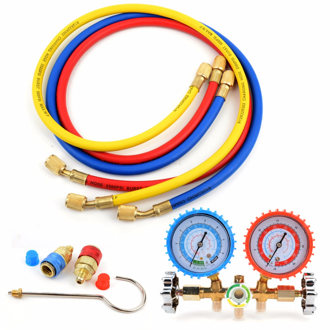 New R134a R12 R22 R502 HVAC Mayitr Refrigerant Manifold Gauge Plastic Metal Charging Hose 90cm With High Pressure Safety Valve r22 r12 r134 a c manifold high and low pressure gauge three pipes with imperial adapter refrigerator parts