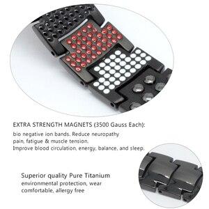 Image 5 - Escalus Mens Black Pure Titanium Magnetic Bracelet For Men 4in1 Magnets Negative Ions Germanium Health Bracelets jewelry