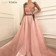 SuperKimJo Embroidery Flowers Prom Dresses 2019 Beaded Pink Elegant A Line Gown Gala Dress Vestido Formatura