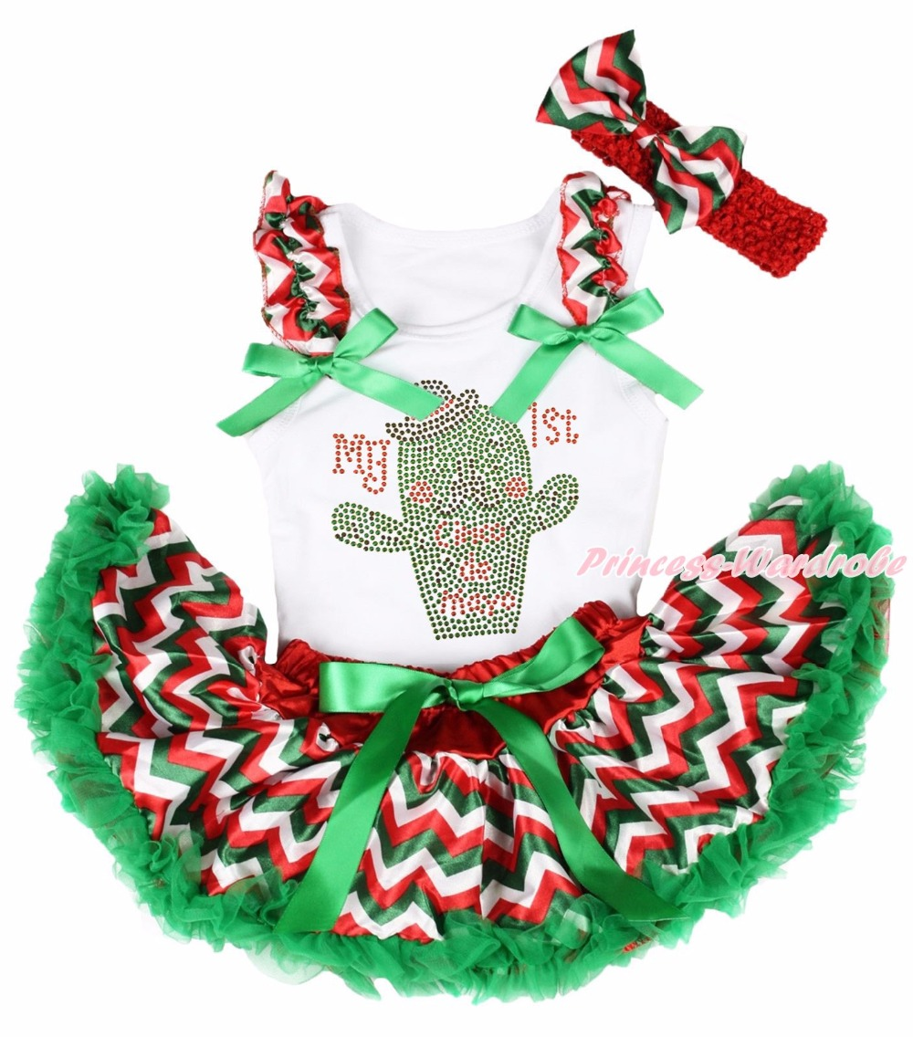 Cinco de Mayo MY 1ST Cactus White Top Chevron Girls Mexico Baby Skirt Set 3-12M my 1st christmas santa claus white top minnie dot petal skirt girls outfit nb 8y