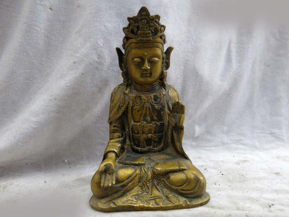 DS China brass copper Avalokitesvara sculpture fine Kwan yin Bodhisattva Statue|statue|statue sculpture|statue china - title=