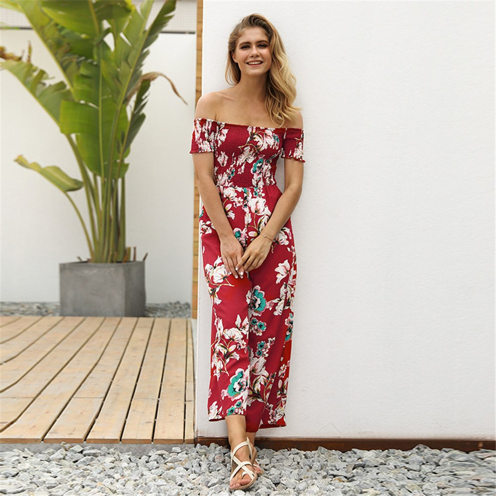 Woman Off Shoulder soft and comfortable Strapless Floral Print High Waist   Jumpsuits   Playsuits L50/0116