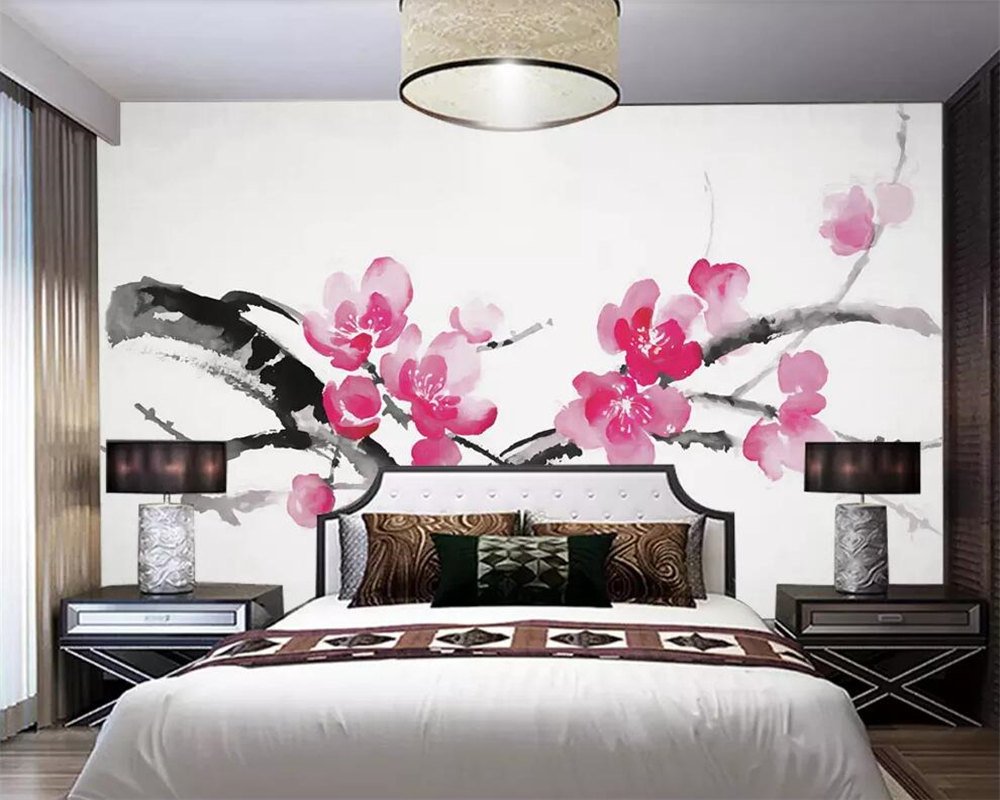 Beibehang Custom wallpaper Chinese style brushwork flower and bird soft pack living room bedroom TV background wall 3d wallpaper in Wallpapers from Home Improvement