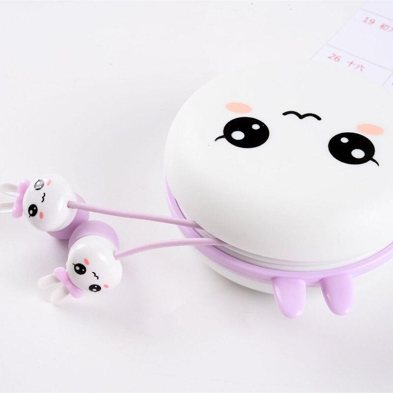 Cute Rabbit Cartoon Earphones 3.5mm in-ear Earbud with Portable Earphone Case Microphone for Kids iPhone Xiaomi Girls Gifts gold earrings for women