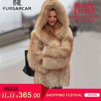 FURSARCAR Natural Fox Fur Coat Women Winter Luxury Silver Fox Fur Outwear 2018 New Fashion thick Gold Fox Fur Coat with Fur Hood