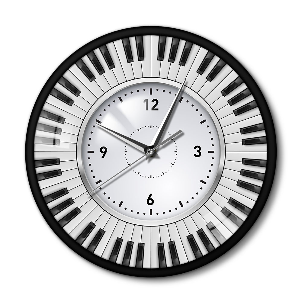 Piano Key Design Hanging Clock Study Music Studio Piano Keys Metal Frame Wall Clock Musician Pianist Teacher Sign Wall Decor Cl image