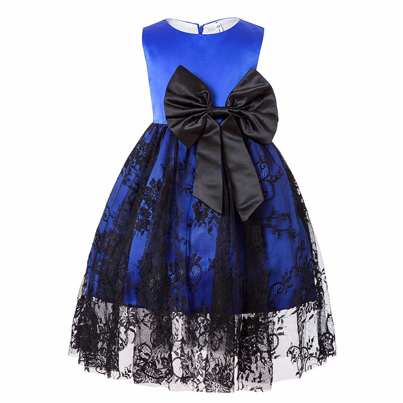 Lace Girls Summer Dress Big Bow baby girl Children Princess Clothing Wedding Party Clothes Dresses Frocks For 1 2 3 4 5 6 Years children s spring and autumn girls bow plaid child children s cotton long sleeved dress baby girl clothes 2 3 4 5 6 7 years
