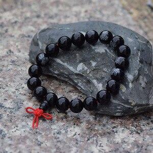 10-12 мм гладкий черный FO браслет Lotus Розария из бисера тибетская буддийская молитва бусы Mala китайский узел милости браслет буддистский