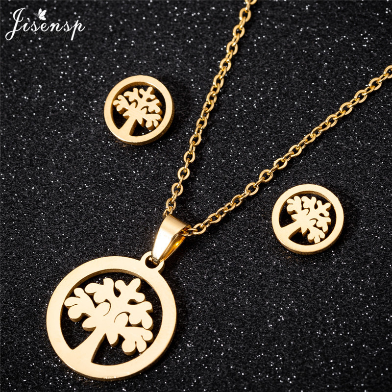 Jisensp Stainless Steel Tree of Life Necklace Jewelry Set Gold Silver Bijoux Collier Cute Round Stud Earrings for Women brincos