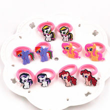 Cartoon MV 10PCS My little horse Baoli Poni Kids Rubber Headbands Soft Fabric Girls Hair accessories Elastic Hair Band Headwear(China)