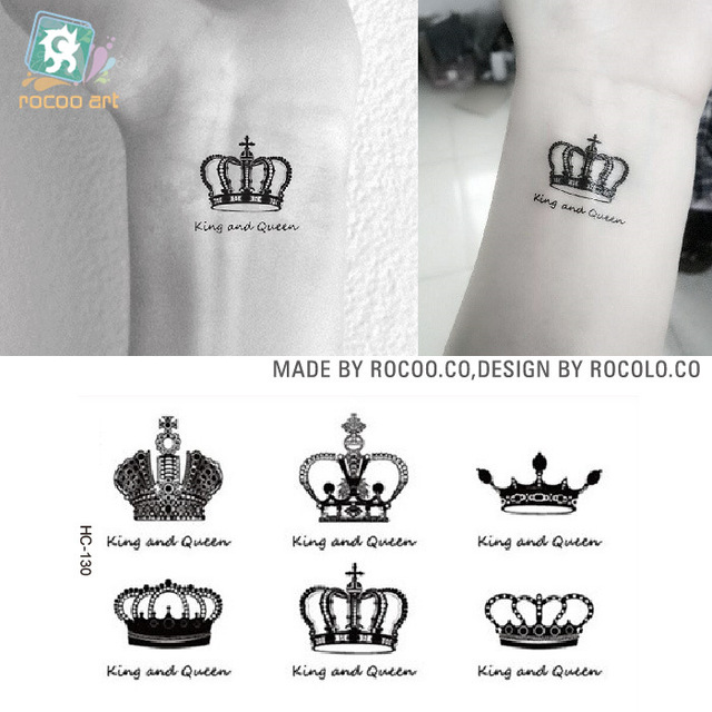 New Creative Design Crown Pattern Temporary Tattoos Hands And Wrists