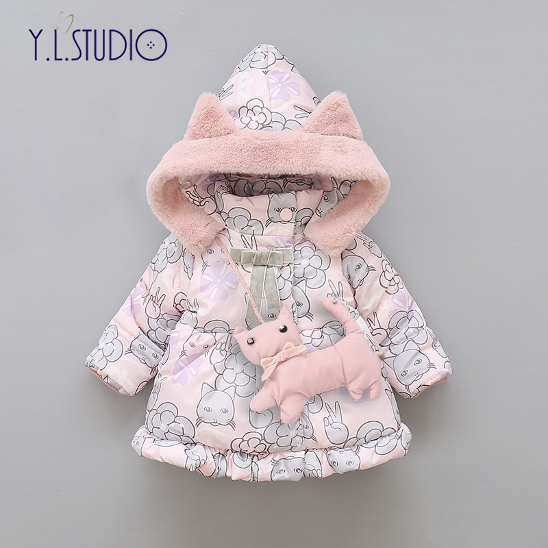 Baby Winter Snowsuit For Girls Cotton Coat Children's Thicken Keep Warm Bow Jackets Snowproof Clothes For Newborn Girl Snowsuit