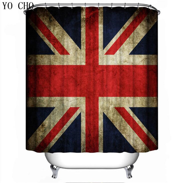YO CHO 1Pcs Rice Flag Polyester Shower Curtain Waterproof Pattern American British Patern Bathroom Curtains