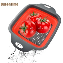 QueenTime Collapsible Colander Silicone Square Food Strainer Fruit Basket Filter Water For Vegetable Kitchen Utensil Wash
