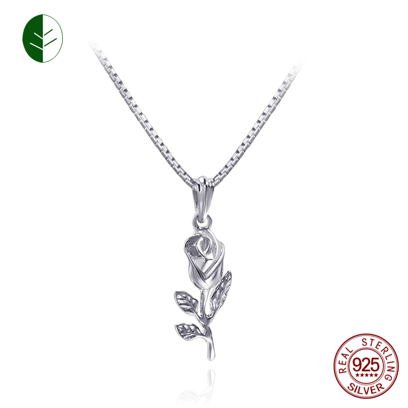Retro 925 Sterling Silver Rose Flower Pendant Necklaces Gold Color Rose Charm Necklace Jewelry Women Girls Wholesale Gift zk30 60pcs lot 2017 retro key dry flower necklace natural wheat flower glass ball pendant jewelry accessory butterfly necklaces