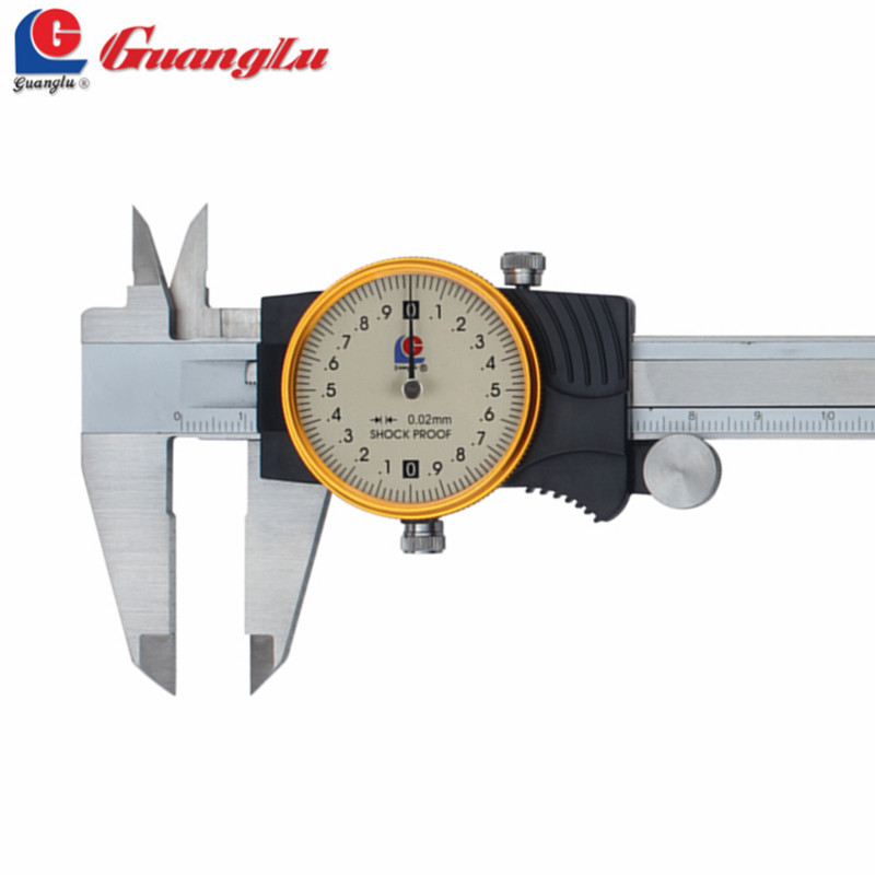 GUANGLU Dial Caliper 0-150/200/300mm/0.02 Stainless Steel Paquimetro Vernier Calipers Measuring Instruments Measure Tools  цены