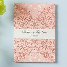 WISHMADE Pink Laser Cut Floral Lace Wedding Invitation Cards with Band Sleeve Embossed Design Invites Card for Party Supplies