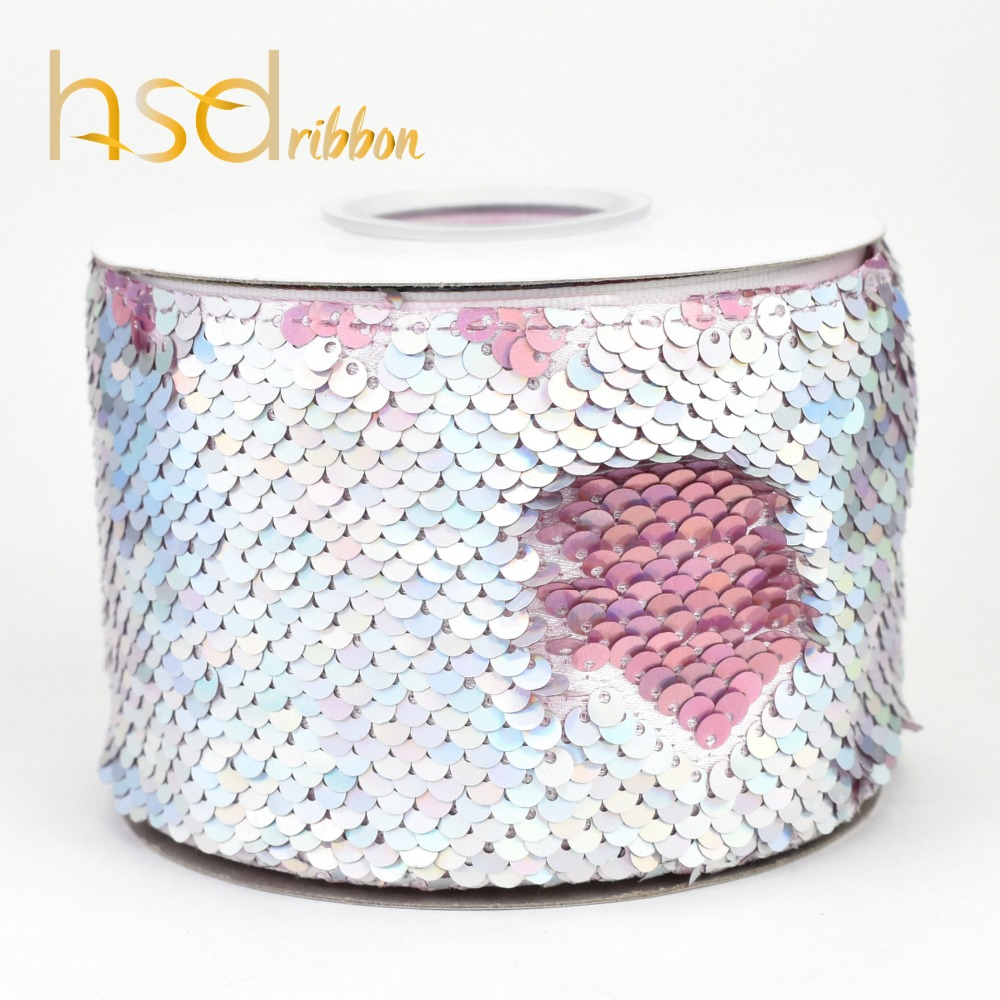 Image 4 - HSDRibbon 75mm double color Sequin Fabric Reversible Glitter  Sequin Ribbon 25Yards per Roll for diy bowsRibbons
