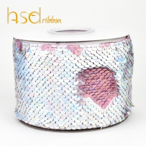 Image 4 - HSDRibbon 75mm double color Sequin Fabric Reversible Glitter Sequin Ribbon 25Yards per Roll for diy bows