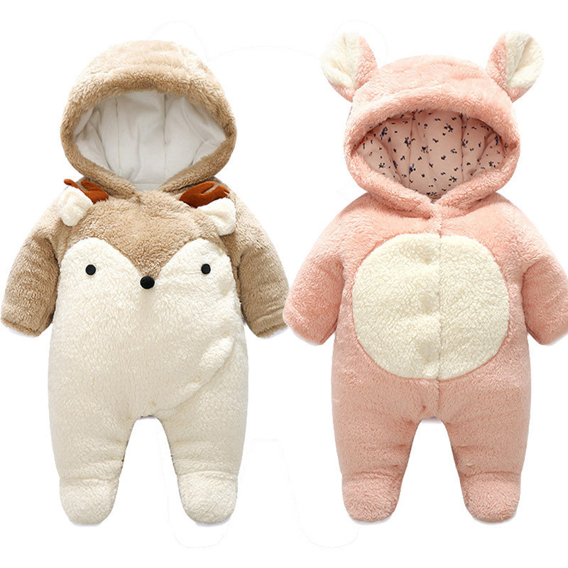 1pc Baby Winter Long Sleeve Rompers Animal Cartoon Design Baby Newborn Cotton Hooded kids Jumpsuits onesie For 3-24 Months #TC цена